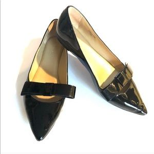 ANN TAYLOR Pointed Toe Black Patent FLAT SHOES 6
